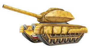 Beeldverhaalauto - tank - geïsoleerde karikatuur - Stock Foto