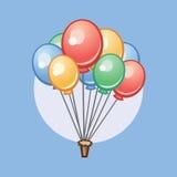 Beeldverhaalballons, vectorillustratie, vakantie Stock Foto's