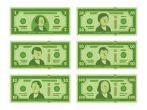 Beeldverhaalbankbiljet Het dollarcontante geld, de geldbankbiljetten en de honderd dollarsrekeningen stileerden vector vlakke ill royalty-vrije illustratie