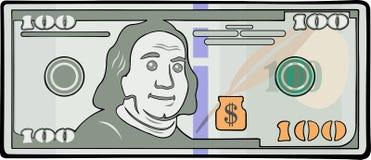 Beeldverhaalbankbiljet met honderd dollars stock illustratie