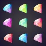 Beeldverhaalbeeld van gemmen en diamanten van verschillende kleuren op een zwarte achtergrond voor computerspelen Stock Afbeeldingen