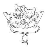 Beeldverhaalbeeld van muizen met kaas Royalty-vrije Stock Afbeelding