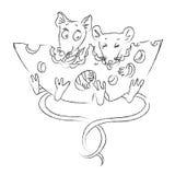 Beeldverhaalbeeld van muizen met kaas Stock Fotografie