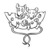 Beeldverhaalbeeld van muizen met kaas Royalty-vrije Stock Fotografie