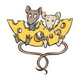 Beeldverhaalbeeld van muizen met kaas Royalty-vrije Stock Afbeeldingen