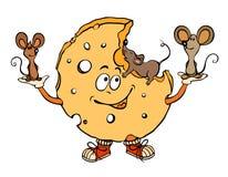 Beeldverhaalbeeld van muizen met kaas Stock Afbeelding