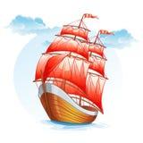 Beeldverhaalbeelden van een zeilboot met rode zeilen stock illustratie