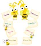 Beeldverhaalbijen met tegenovergestelde woorden Royalty-vrije Stock Afbeelding