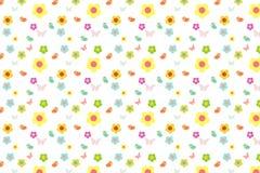 Beeldverhaalbloem en vogel met kleurrijke zoete patroonachtergrond Stock Afbeelding