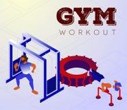 Beeldverhaalbodybuilders die wapens op gymnastiekmachines opleiden royalty-vrije illustratie