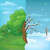 Beeldverhaalboom in de helft op een verdeelde de zomer en de winterachtergrond wordt verdeeld die Deel met weelderig groen geblad royalty-vrije illustratie