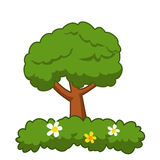 Beeldverhaalboom op witte achtergrond wordt geïsoleerd die Royalty-vrije Stock Foto