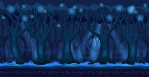 Beeldverhaalbos bij de donkere achtergrond van het nachtvideospelletje Royalty-vrije Stock Foto's