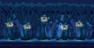 Beeldverhaalbos bij donkere nachtachtergrond Stock Afbeeldingen