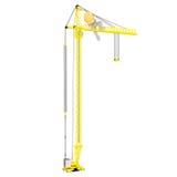 Beeldverhaalbouwvakker Climbing Up Crane Royalty-vrije Stock Afbeelding
