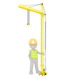 Beeldverhaalbouwvakker Standing Under Crane Stock Fotografie