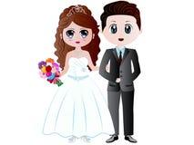 Beeldverhaalbruid & Bruidegom Vector Illustration royalty-vrije illustratie
