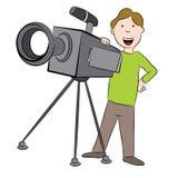 Beeldverhaalcameraman met Camera Stock Fotografie