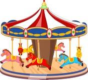 Beeldverhaalcarrousel met kleurrijke paarden Royalty-vrije Stock Afbeeldingen