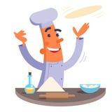 Beeldverhaalchef-kok die pizzadeeg maken Stock Afbeelding