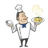 Beeldverhaalchef-kok met deegwarenkom en koffie Stock Fotografie