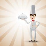 Beeldverhaalchef-kok met voedseldienblad Stock Foto