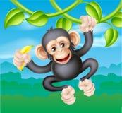 Beeldverhaalchimpansee met Banaan Royalty-vrije Stock Afbeelding