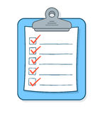 Beeldverhaalcontrolelijst met vinkjes op klembord Stock Afbeeldingen