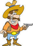 Beeldverhaalcowboy die een pistool houden royalty-vrije illustratie