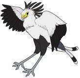 Beeldverhaaldier - falco serpentarius - vlakke het kleuren stijl Stock Fotografie
