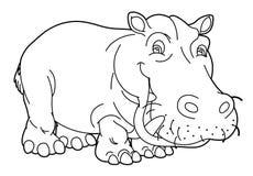 Beeldverhaaldier - hippo - karikatuur - kleurende pagina Stock Foto