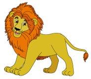 Beeldverhaaldier - leeuw - vlakke het kleuren stijl Stock Foto's