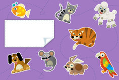 Beeldverhaaldieren - etiket - illustratie voor de kinderen Royalty-vrije Stock Foto's