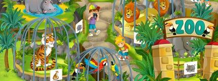 Beeldverhaaldierentuin - pretpark - illustratie voor de kinderen Stock Fotografie