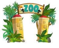 Beeldverhaaldierentuin - pretpark - illustratie voor de kinderen Royalty-vrije Stock Afbeeldingen
