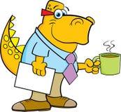Beeldverhaaldinosaurus die een koffiekop houden Stock Afbeelding