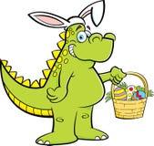 Beeldverhaaldinosaurus die konijnoren dragen en een Pasen-mand houden Royalty-vrije Stock Foto's