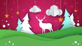 Beeldverhaaldocument de zomerlandschap Herten, ster, wolk, spar, heuvel, gras royalty-vrije illustratie