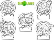 Beeldverhaalemblemen van dinosaurussen Stock Fotografie