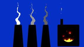 Beeldverhaalfabriek Smokey Chimneys en Smeltende pot op een Blauwe het Schermachtergrond vector illustratie