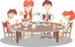 Beeldverhaalfamilie die ontbijt hebben stock illustratie