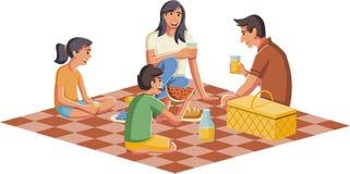 Beeldverhaalfamilie die picknick hebben royalty-vrije illustratie