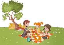 Beeldverhaalfamilie die picknick in het park op een zonnige dag hebben vector illustratie