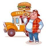 Beeldverhaalfast-food auto met de vette man Vector Illustratie