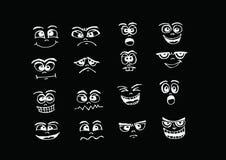 Beeldverhaalgezichten Geplaatst de illustratie van de handtekening Royalty-vrije Stock Foto