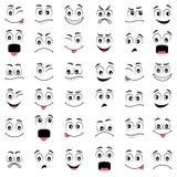 Beeldverhaalgezichten met verschillende emoties Stock Fotografie