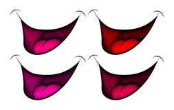 Beeldverhaalglimlach, mond, lippen met tanden en tong Vector illustratie die op witte achtergrond wordt geïsoleerdd Stock Fotografie