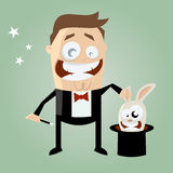 Beeldverhaalgoochelaar met konijntje in zijn hoge zijden Stock Foto's