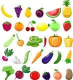 Beeldverhaalgroenten en vruchten pictogrammen royalty-vrije illustratie