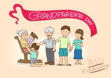 Beeldverhaalgrootouders en familie met liefde, multikleur, heldere bedelaars stock illustratie